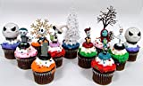 jack skellington cake - Nightmare Before Christmas 10 Piece Deluxe Cupcake Topper Set Featuring Zero, Barrel, Lock, Shock, Sally, Jack Skellington and Other Decorative Themed Accessories - Cake Topper Figures Range from 2