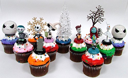"Price comparison product image Nightmare Before Christmas 10 Piece Deluxe Cupcake Topper Set Featuring Zero,  Barrel,  Lock,  Shock,  Sally,  Jack Skellington and Other Decorative Themed Accessories - Cake Topper Figures Range from 2"" to 3"" Tall"