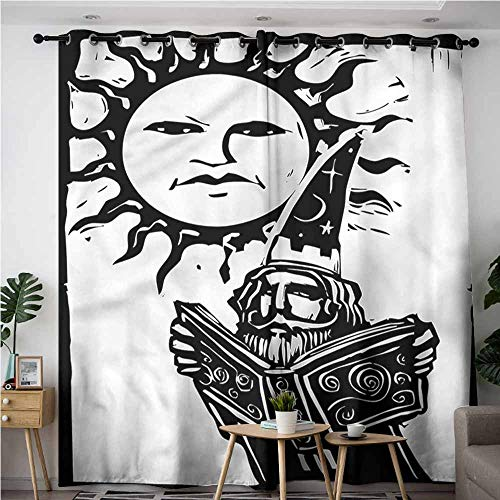 (BE.SUN Curtains for Bedroom,Fantasy,Wizard with Magic Book,Blackout Window Curtain 2 Panel,W72x84L)