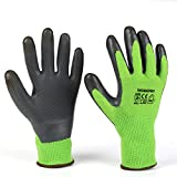 WORKPRO 2-Pairs Bamboo Working Garden Gloves with Eco Latex Palm Coated, Works Gloves with Touchscreen for Weeding, Digging, Raking and Pruning (Green XL)