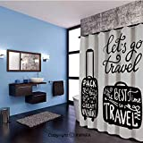 Rue Decor Bed in a Bag Easy Care Fabric Shower Curtain with Reinforced Buttonholes,Packing the Bags and Traveling World Journey and Fun Themed Work of Art Print Decorative Showers, Stalls and Bathtubs,59