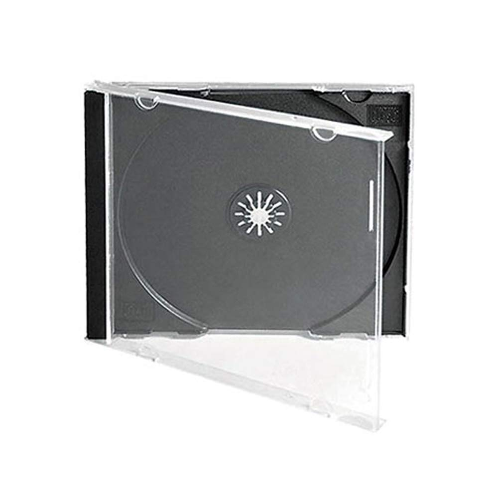 Maxtek 10.4 mm Standard Single Clear CD Jewel Case with Assembled Black Tray, 25 Pack