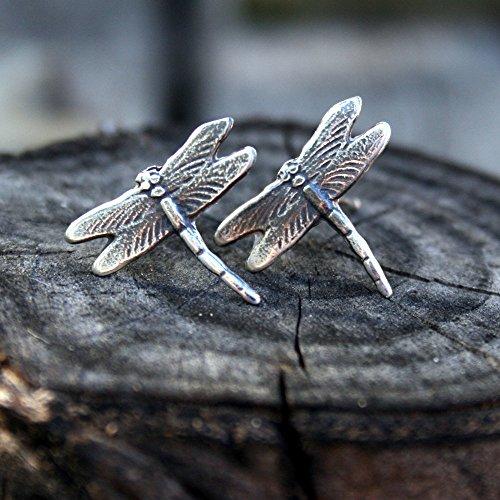 (Sterling Silver Dragonfly Post Earrings )