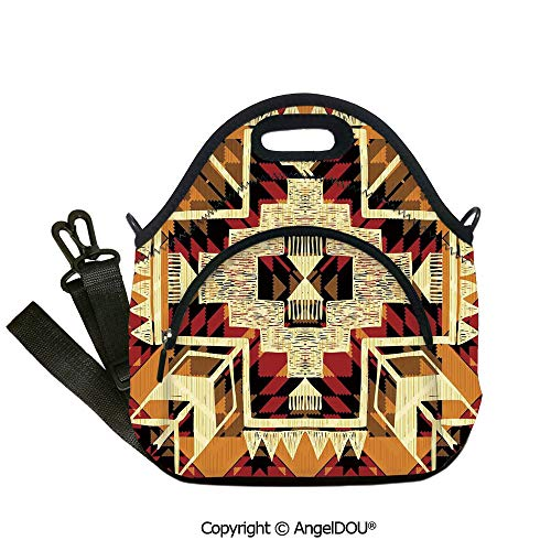 AngelDOU Arrow Decor waterproof insulation portable lunch box bag Native American Inspired Retro Aztec Pattern Mod Graphic Design Boho Art Print student cute girls mummy bag.12.6x12.6x6.3(inch)