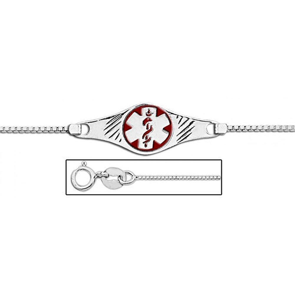 Sterling Silver Medical ID Ankle Bracelet W/ Box Chain W/ Red Enamel - 9 1/2 Inch w / engraving
