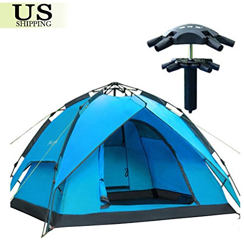Hydraulic Rapid Self Pop Up Double Layer Camping Tent 3-4 Persons Waterproof New by Unknown