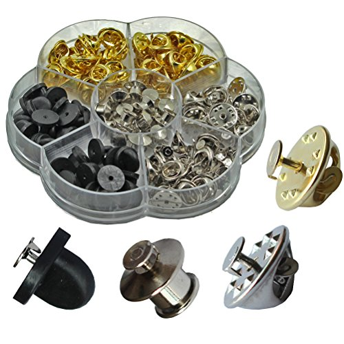 200 Pcs 6 Styles Clutch Pin Backs with Tie Tacks Blank Pins Kit, PVC Rubber Pin Backs, Pins Keepers Backs Locking Clasp, Butterfly Clutch Badge Insignia Clutches Pin Backs (Style Ear Pin)