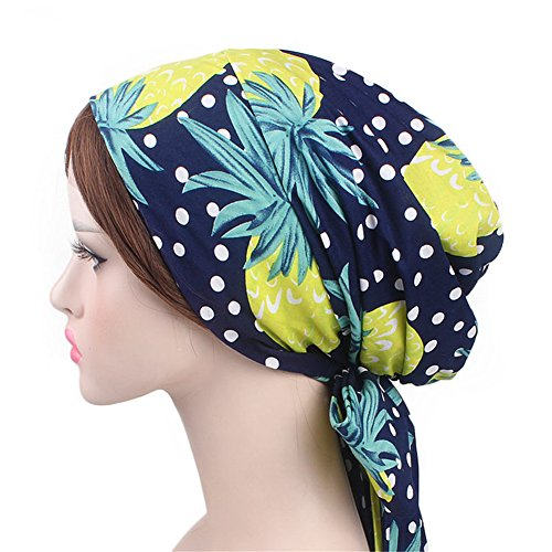 Vintage Women Cotton Head Scarf Chemo Cap Bowknot Turban Head wrap (Pineapple)