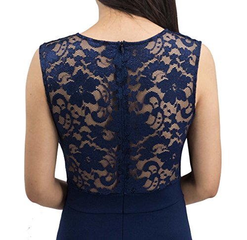 A-Line Sleeveless Pleated Little Dark Navy Cocktail Party Dress with Lace Back (XXL, Navy) ()