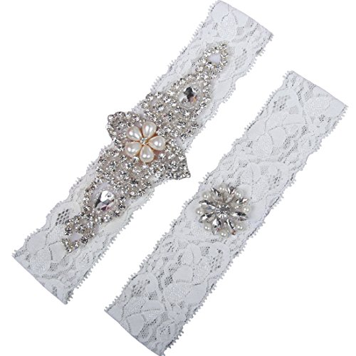 NYARER Ivory Wedding Garter Set ,Classic Series, Lace Vintage White Prom Bridal Gift L