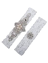 NYARER Ivory Wedding Garter Set ,Classic Series, Lace Vintage White Prom Bridal Gift