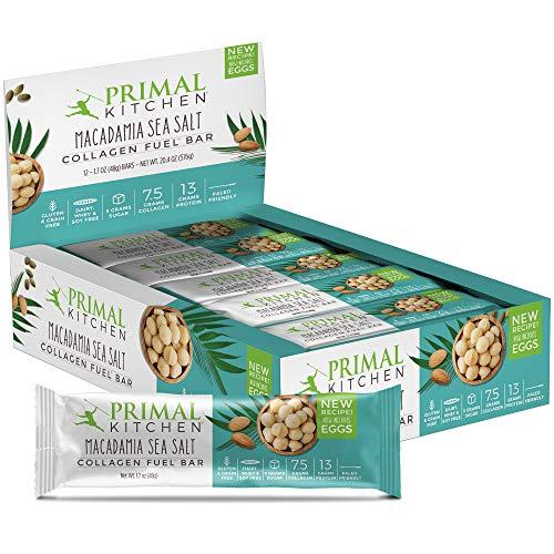 Primal Kitchen Macadamia Sea Salt Collagen Protein Bars, 1.7 oz, Pack of 12, Gluten Free, Paleo - Contains Eggs
