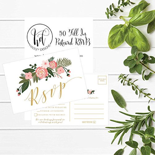 50 Blank Gold Floral RSVP Cards, RSVP Postcards No Envelopes Needed, Response Card, RSVP Reply, RSVP kit for Wedding, Rehearsal, Baby Bridal Shower, Birthday, Plain Bachelorette Party Invitations Photo #4