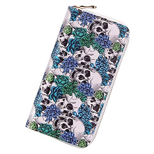 Badiya 3 Pretty Sugar Skull Wallet for Women Vintage Clutch Bag (Skull Blue Flower) for $<!--$10.99-->
