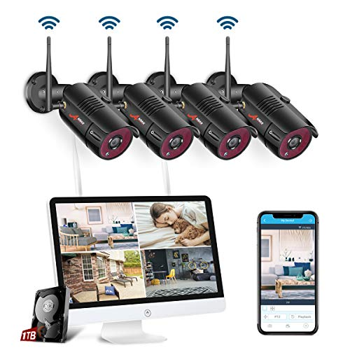 【All-in-One】 Wireless Security Camera System with 15.6 Inch Monitor, 4 Channel 1080P Waterproof Indoor Outdoor Wireless Surveillance IP Camera, ANRAN Remote Home Monitoring System 1TB HDD, Plug&Play ()