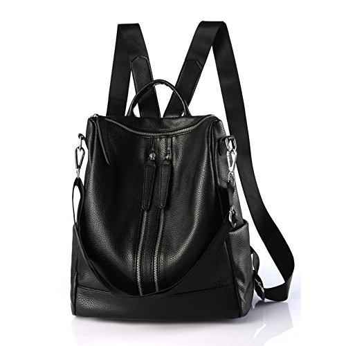 Backpack Leather Black Purse Versatile Genuine Unisex Casual Women Classic Shoulder Bag E7q7rw