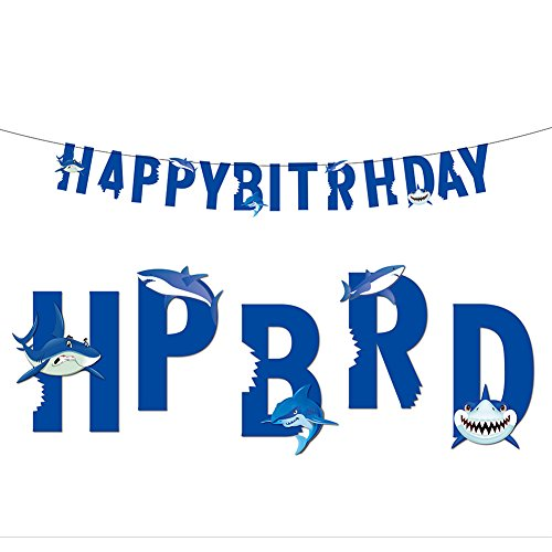 Shark Happy Birthday Banner for Kids Baby Show Theme Birthday Wedding Festival Party]()