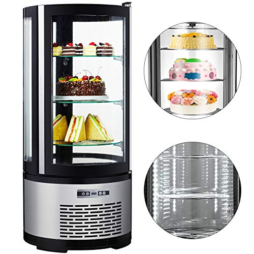VBENLEM 3-1/2 cu. ft.(100L) Commercial Curved Glass Display Refrigerator Deli Bakery Display Case LED Lighting Cake Display Case Countertop Glass Cooler Display Fridge for Cakes Dessert Pies Used to Bakery Coffee Shop Cake Shop