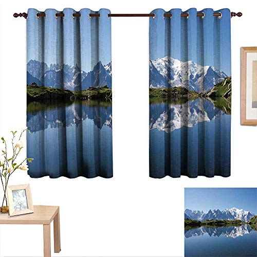aotuma Blackout Curtains Lake,Mont Blanc Mountain Range Reflected in Cheserys Lake Alps France Panorama,Pale Blue White Green,for Bedroom,Nursery,Living Room 52