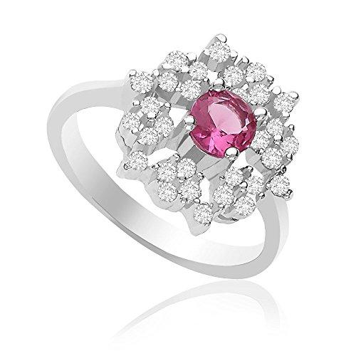 Taraash Floral Pink CZ 925 Sterling Silver Finger Ring for Women FR08XLD