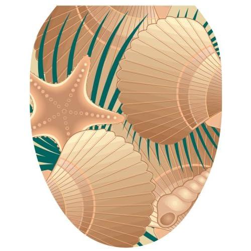 "30%OFF Toilet Tattoos TT-1600-O ""At the Beach"" (Sea Shells) Design, Elongated"