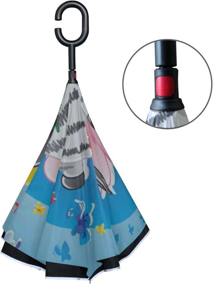 Double Layer Inverted Inverted Umbrella Is Light And Sturdy Zebrabutterfly Reverse Umbrella And Windproof Umbrella Edge Night Reflection