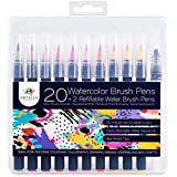 Watercolour Brush Pens by Artelle - 20 Vibrant Colours - 2 Extra Refillable Water Brushes - Soft Flexible Real Brush Tips - Paint Markers for Colouring, Painting, Calligraphy, Illustration and Crafts