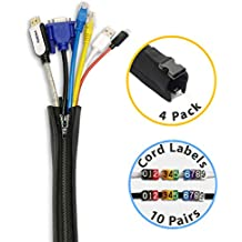 HomeyHomes Cable Management Sleeve and Wire Labels System - Extendable Cord Organizers Kit with Zipper and Buckle Design, Tidy Home and Office Cords In 5 mins, No Tools Needed, 4 Pack 20-inch, Black