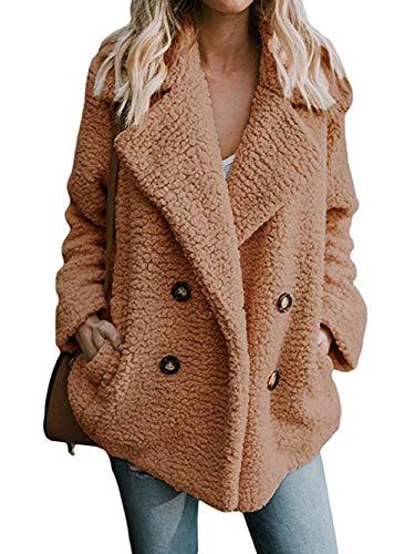 Famulily Women's Cozy Warm Teddy Bear Jacket Oversized Fleece Fuzzy Coat with Pockets Open Front Fluffy Outerwear Khaki Medium - Teddy Bear Coat