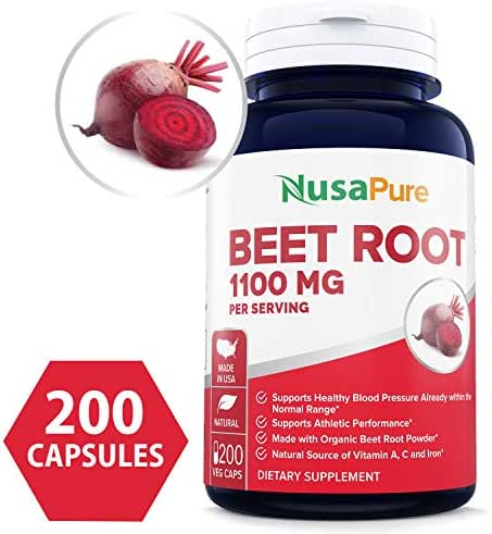 Beet Root 1100mg 200 Veggie caps (Organic, Non-GMO & Gluten Free) - Lower Blood Pressure, Increase Performance, Regulate Insulin Response & Maintain Skin Condition ★100% Money Back Guarantee!★