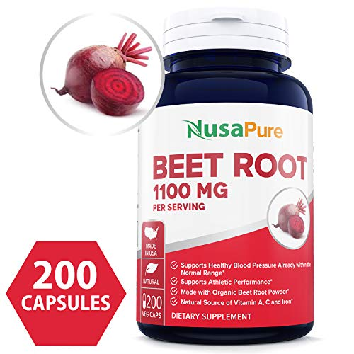 Beet Root 1100mg 200 Veggie caps (Organic, Non-GMO & Gluten Free) - Lower Blood Pressure, Increase Performance, Regulate Insulin Response & Maintain Skin Condition