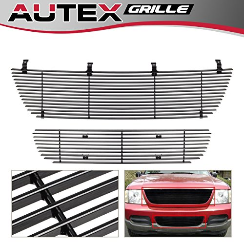 (AUTEX F87989H Aluminum Black Horizontal Main Upper Billet Grille Insert + Lower Bumper Grill Combo Compatible With Ford Explorer 2002 2003 2004 2005 Grill Insert)