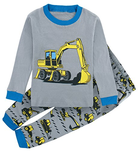 A&J Design Kids Boys' Excavator Pajamas Pjs Sets (6, Blue) Design Excavator