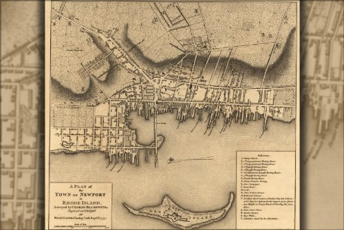 24x36 Poster; Revolutionary War Map Newport Rhode Island 177