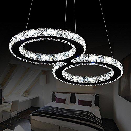 Elinkume Luxury Modern Crystal LED Pendant Light, Modern Home Ceiling Light Fixture, Pendant Light Chandeliers Lighting Cool white