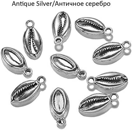 Hongyuantongxun 20枚/ロットメッキアンティークシルバーゴールドボヘミアンカウリコンクシェルチャームペンダント用ネックレスブレスレットジュエリー素質用品,高品質 (色 : Antique Silver)