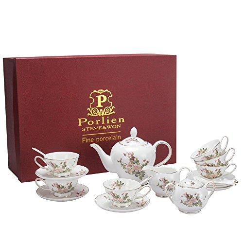 Porlien Tea Set, Pink Camellia, Porcelain Gift Set (6 teacup sets with teapot) by Porlien