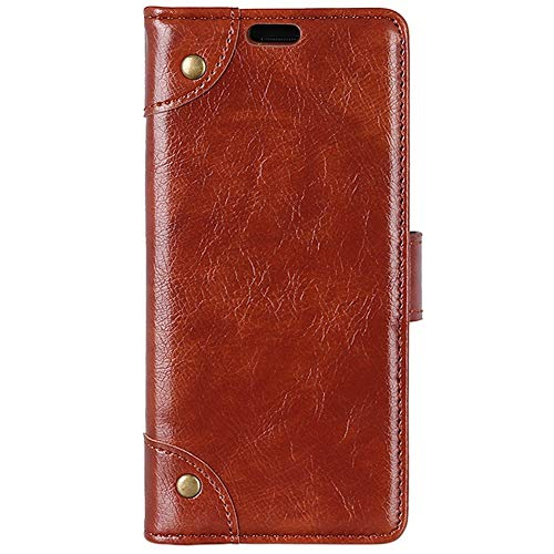 Lusheng Nokia 3.1 Plus Case, [Napa Pattern Copper Buckle] Wallet Flip Leather Case Soft TPU Shell Card Slot Cash Pocket Case Cover for Nokia 3.1 Plus 6.0