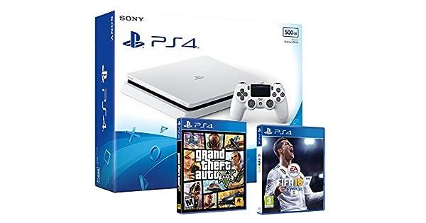 PS4 Slim 500Gb Blanca Playstation 4 Consola - Pack 2 Juegos - FIFA 18 + GTA V: Amazon.es: Videojuegos