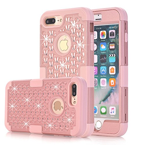 UCLL iPhone 7 Plus Case, iPhone 8 Plus Glitter Bling Diamond Silica Gel Case for 5.5 inch iPhone 7 Plus iPhone 8 Plus With A Free Screen Protector (Rubberized Purple Rhinestones)