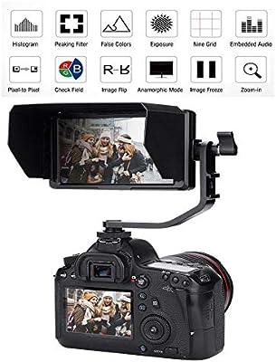 Monitor de cámara F5 4K, Monitor de Video de 5 Pulgadas IPS ...