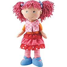"""HABA Lilli-Lou 12"""" Soft Doll with Pink Hair in Pigtails, Blue Eyes and Embroidered Face for Ages 18 Months and Up"""