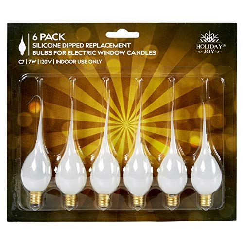 Holiday Joy - Silicone Dipped Candelabra Replacement Bulbs - Great for Electric Window Candle Lamps - C7 - E12-7 Watt - 120 Volts (6 Pack) ()