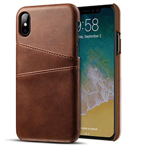 iPhone X Wallet Case, SHAMO'S PU Premium Leather Case Protective Card Holder ID Slot Shockproof Cover (Brown)