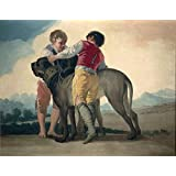 The polyster Canvas of oil painting 'Goya y Lucientes Francisco de Boys with Mastiffs 1786 87 ' ,size: 20 x 26 inch / 51 x 66 cm ,this Beautiful Art Decorative Prints on Canvas is fit for dining Room decoration and Home gallery art and Gifts