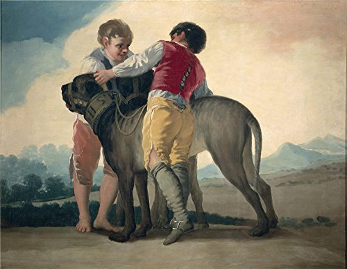 Polyster Canvas ,the Cheap But Art Decorative Art Decorative Prints On Canvas Of Oil Painting 'Goya Y Lucientes Francisco De Boys With Mastiffs 1786 87 ', 16 X 21 Inch / 41 X 52 Cm Is Best For Gym Artwork And Home Decoration And Gifts
