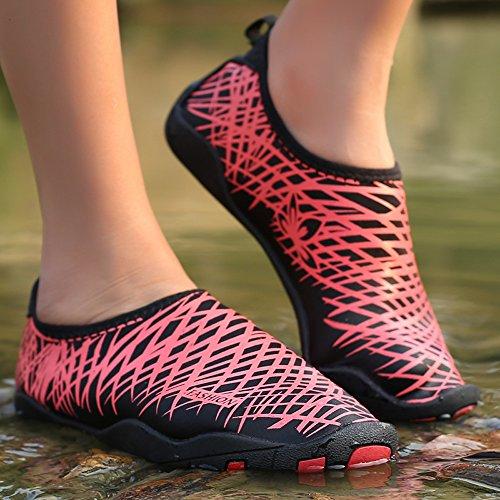 WALUCAN Wasser Schuhe Barfuß Quick-Dry Aqua Sport für Yoga Beach Driving Walking für Männer und Frauen N.red