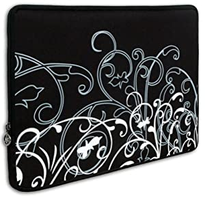 Black & White Fleur Carrying Case Sleeve for Apple iPad Wifi / 3G 16GB, 32GB, 64GB from MyGift