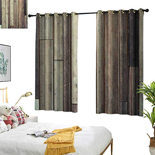 Warm Family red Curtains Wooden,Antique Planks Flooring Wall Picture American Style Western Rustic Panel Graphic Print, Brown 63