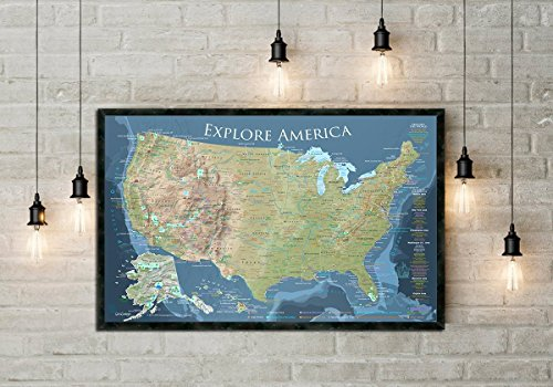 Explore America - USA Push Pin Map with National Parks, Historical Cities, and more - Framed Map - Voyager Edition